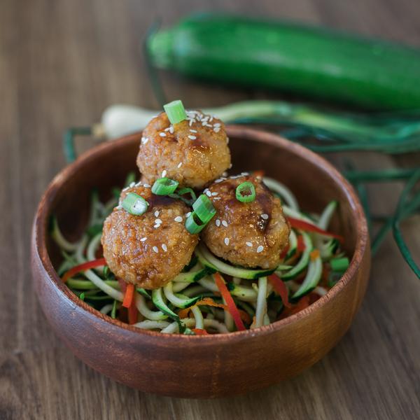 Asian Spaghetti and Turkey Meatballs SVPT